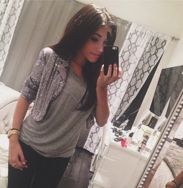 jacket jewels shirt grey t-shirt glitter horloge gold clock madison beer