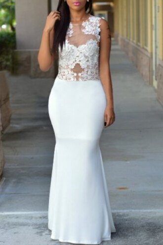 dress white maxi dress long bridal chic round neck sleeveless lace and voile spliced see-through women's white dress wedding dress fashion style rosegal-dec girl girly girly wishlist lace dress bodycon dress sexy sexy dress prom dress party dress