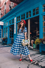 dress,gingham,red hats,bag,shoes,red shoes,red flats,flats,black dress,blue dress,hair accessory,sunglasses