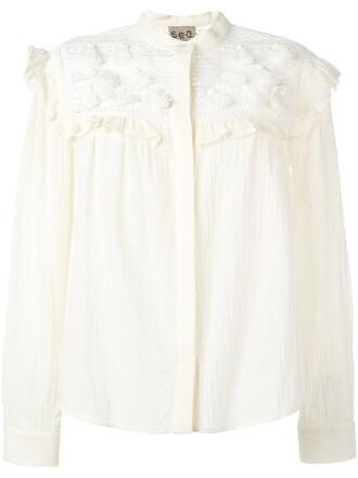 blouse tassel women nude cotton top