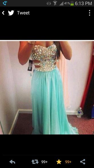 dress teal dress crystal 2014 prom dresses prom dress stones jewelery