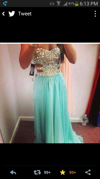 dress prom dress teal dress 2014 prom dresses crystal, stones, jewelery