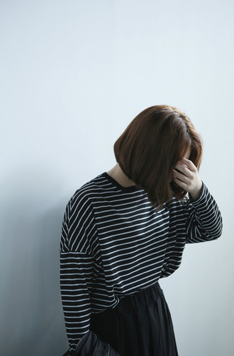 top baggy shirt baggy oversized shirt oversized loose top long sleeves striped top sailor stripes black and white shirt short hair asian sweater