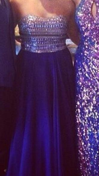 dress blue prom prom dress strapless vibrant