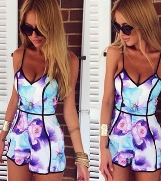 jumpsuit purple blue white