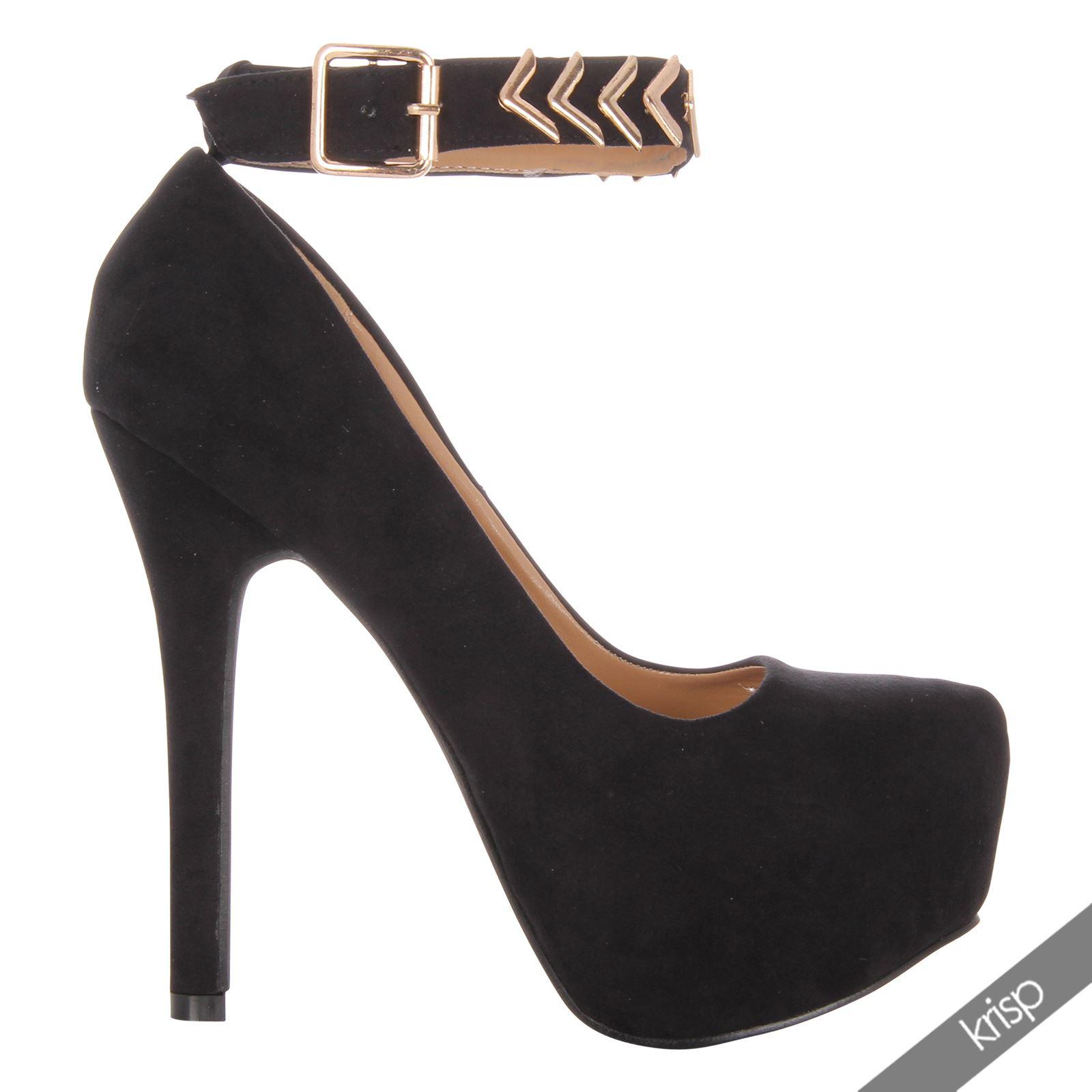 Womens Gold Metal Ankle Cuff Strap Hidden Platform Wedge High Heel Shoes Party | eBay