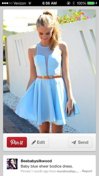 dress light blue skater dress skater skirt cute preppy sheer top low cut blue baby blue tumblr pinterest formal dress casual