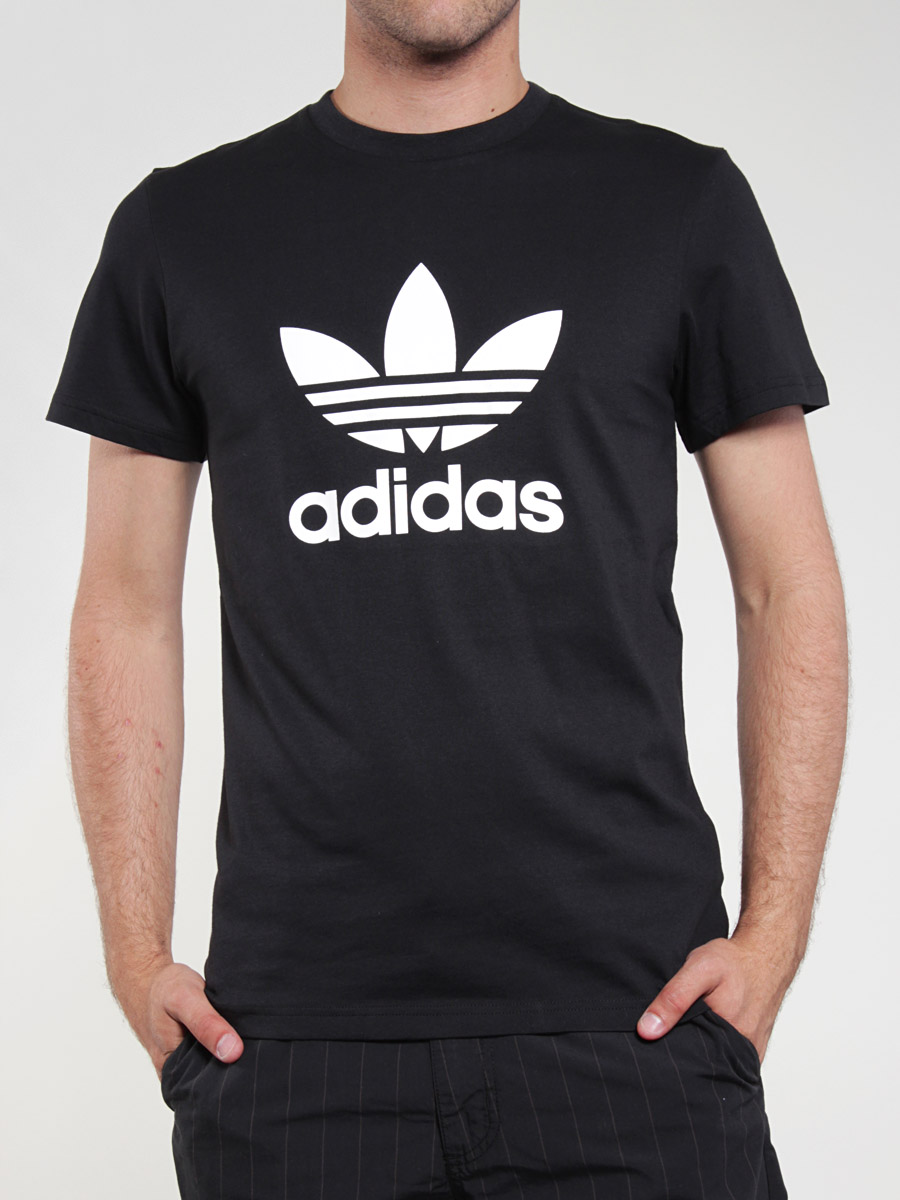 adidas t shirt trefoil black white the biggest t shirts adidas collection. Black Bedroom Furniture Sets. Home Design Ideas