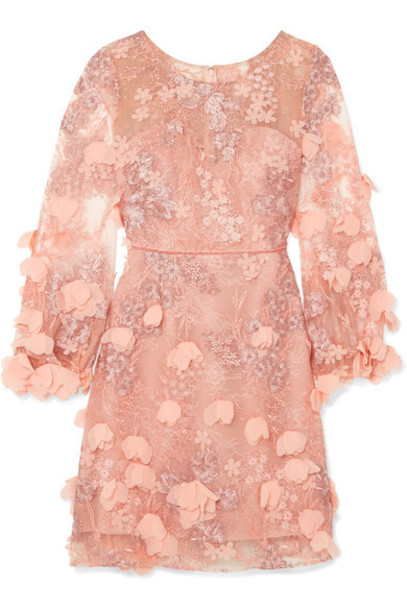 Marchesa Notte dress lace dress baby embellished lace pink baby pink