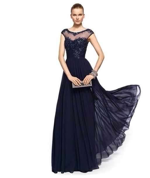 Dress Prom Dress Navy Formal Dress Long Evening Dress Evening