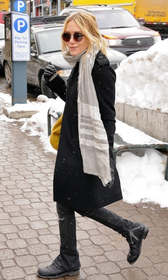scarf coat mary kate olsen dress