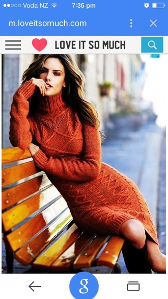 dress deep red cable knit