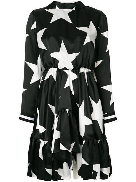 dress women print black silk