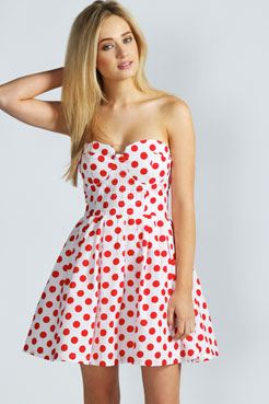 Vicky Polka Dot Bandeau Prom Dress at boohoo.com