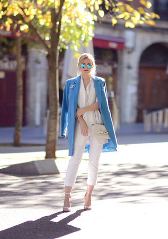 jacket sunglasses oh my vogue bag blogger office outfits cardigan