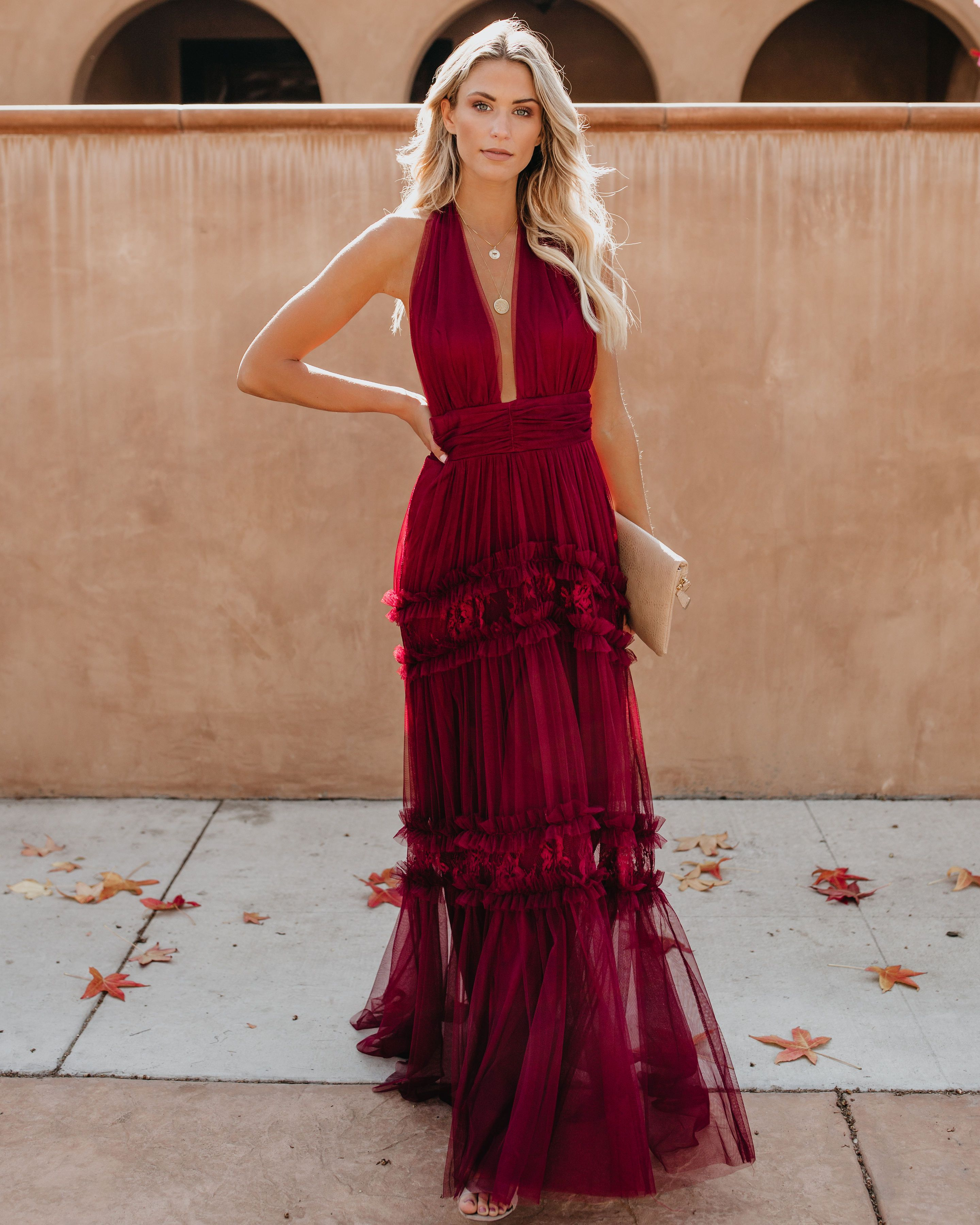 Open Your Heart Halter Lace Maxi Dress