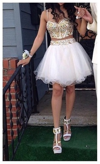 dress white two piece homecoming dress