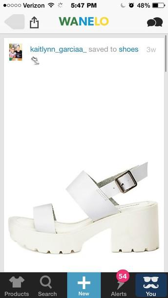 shoes white chunky platform heelsls