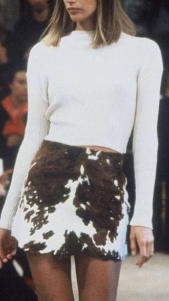 skirt cowhide miniskirt