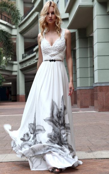 floral pattern dress white dress beaded dress maxi dress short sleeve dress sleeveless dress belted v-neck dress long dress