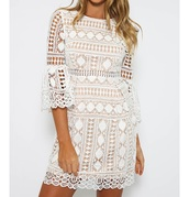dress,white lace overlay with nude underlining