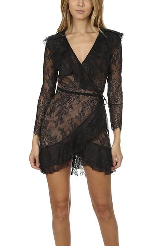dress black lace wrap sheer black nude for love and lemons mini dress daphne lace