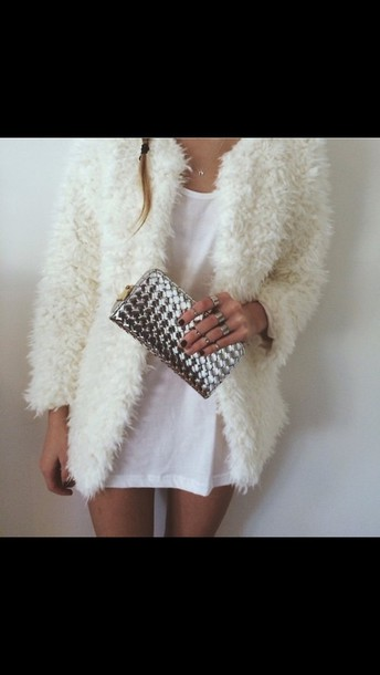 coat white fluffy fuzzy coat