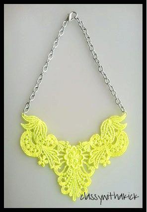 Neon yellow lace bib statement necklace  18 by classywithakick