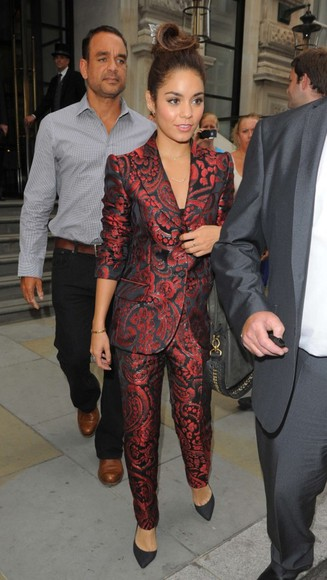 pants printed pants vanessa hudgens suit jacket