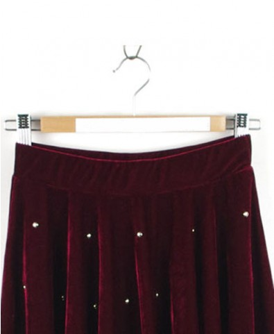 Velvet Skater Skirt with Rivet Details