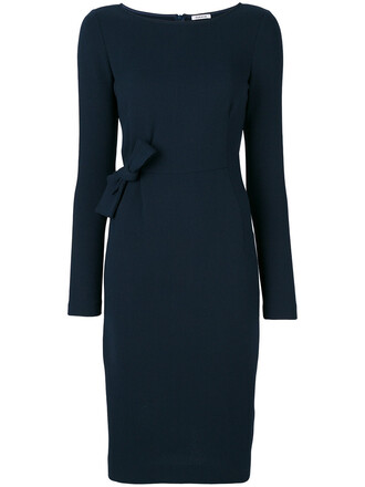 dress midi dress bow women midi spandex blue wool