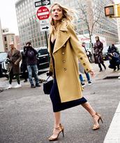 coat,tumblr,camel,camel coat,dress,streetstyle,midi dress,sandals,sandal heels,high heel sandals,bag,black bag