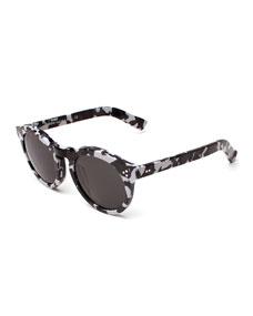 Leonard II Camo-Print Sunglasses, Black/white