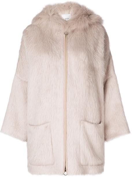 coat fur fox women wool purple pink