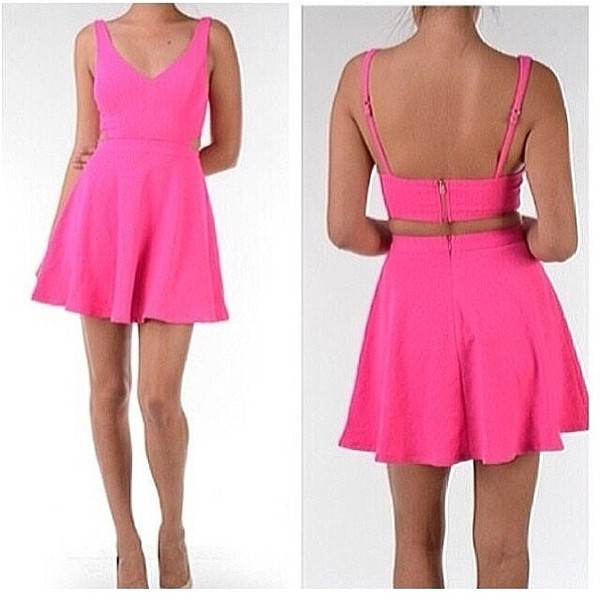 dress pink v neck open back