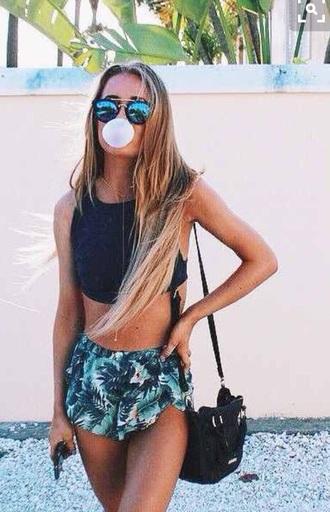 shorts sunglasses summer hot holidays sunny tan bikini grunge green palm tree print black white outfit top black top crop tops bag black bag flowy blue short tropical girl tumblr sportswear summer shorts