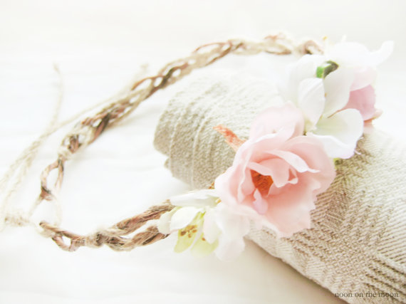 Flower Crown Bridal Headpiece Roses Rustic by NoonOnTheMoon