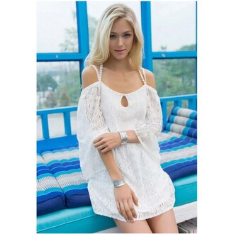 blouse fashion sexy white halter straps bat sleeve lace off shoulder sexy dress lace dress party dress sexy blouse lady summer