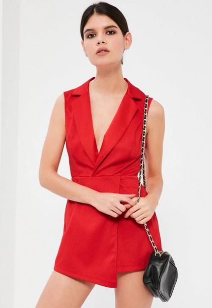 Missguided Petite Red Sleeveless Tuxedo Romper