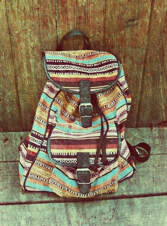 bag indie hipster boho aztec aztec bag vintage bag canvas backpack printed backpack