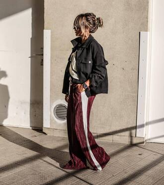 pants tumblr wide-leg pants side stripe pants burgundy burgundy pants jacket denim jacket black jacket