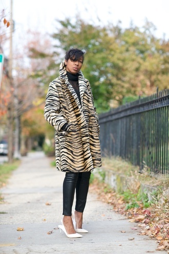 where did u get that blogger top animal print coat leather pants