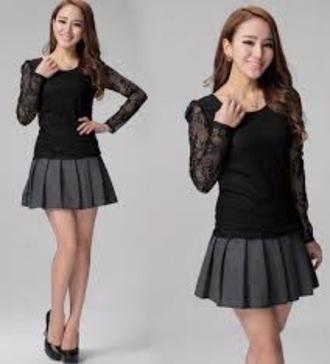 skirt cute gray black