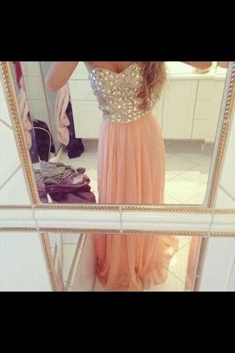 dress light pink dress silver sequin dress strapless dress prom dresses /graduation dress .party dress