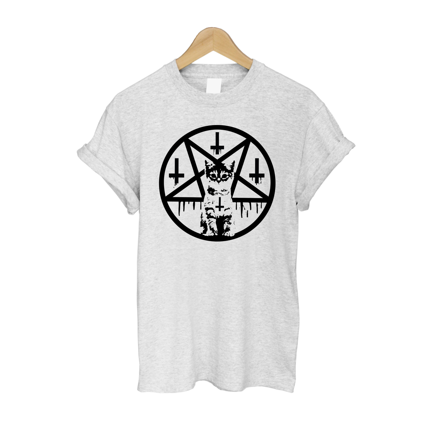 Inverted Cross & Pentacle Kitten T Shirt - Grey £11   Free UK Delivery   10% OFF