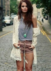 jacket,jewelry,shorts,shirt,jewels,fashion,summer,spring,girl,cute,boho,festival,crochet,necklace,white,turquoise,brunette,streetstyle,street,lookbook,cardigan