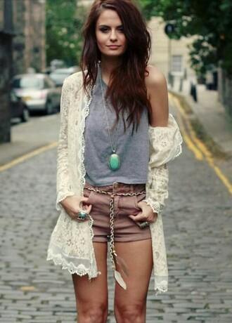 jacket jewelry shorts shirt jewels fashion summer spring girl cute boho festival crochet necklace white turquoise brunette streetstyle street lookbook cardigan