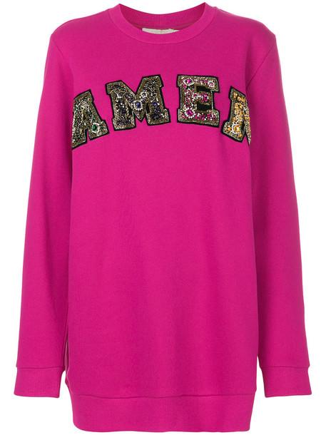Amen - embellished logo sweatshirt - women - Cotton/Polyester/glass - 42, Pink/Purple, Cotton/Polyester/glass