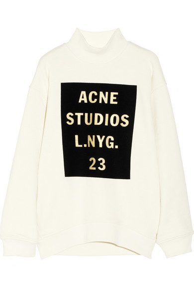 Acne Studios - Beta Double velvet-flocked cotton sweatshirt