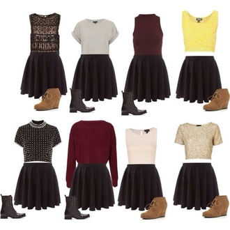 skirt black skater skirt wedge booties combat boots top